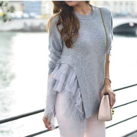 TWOTWINSTYLE Lace Ruffles Knitted Sweater For Women Winter Asymmetric Tops Large Big Size Pullover Female Jumpers