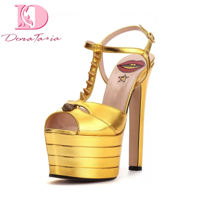 DoraTasia Large Sizes 33-42 more colors customize Brand Summer Women Shoes Woman High Heels Platform Party Wedding Sandals Women phyanic 2017 gladiator sandals gold silver shoes woman summer platform wedges glitters creepers casual women shoes phy3323
