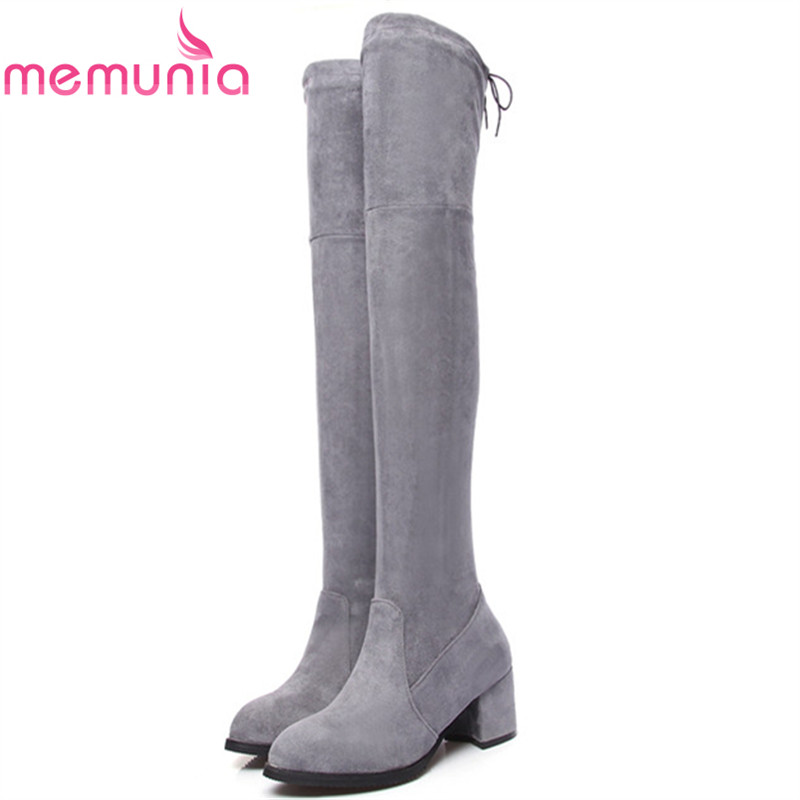 MEMUNIA Over the knee boots fashion shoes woman high heels boots flock elasticity long boots autumn winter big size 34-43 fashion autumn and winter style flock leather women fringe flat heels long boots woman keep warm tassel knee high boots
