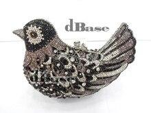 Bird кристалл сорока воробей черный леди свадебные полые металл вечернее портмоне сцепление мешок сумочка