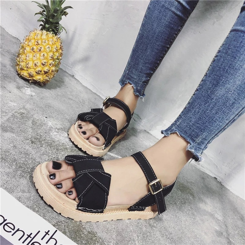 Korean Style 2018 Summer Women Sandals Open Toe Flip Flops Womens Flat Sandles With low Women Shoes Gladiator student Shoes