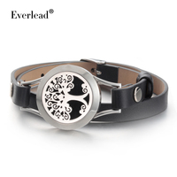 Everkead New Design Real Leather Tree Of Life Bracelets Men Essential Oil Diffuser Aromatherapy Locket Bracelets