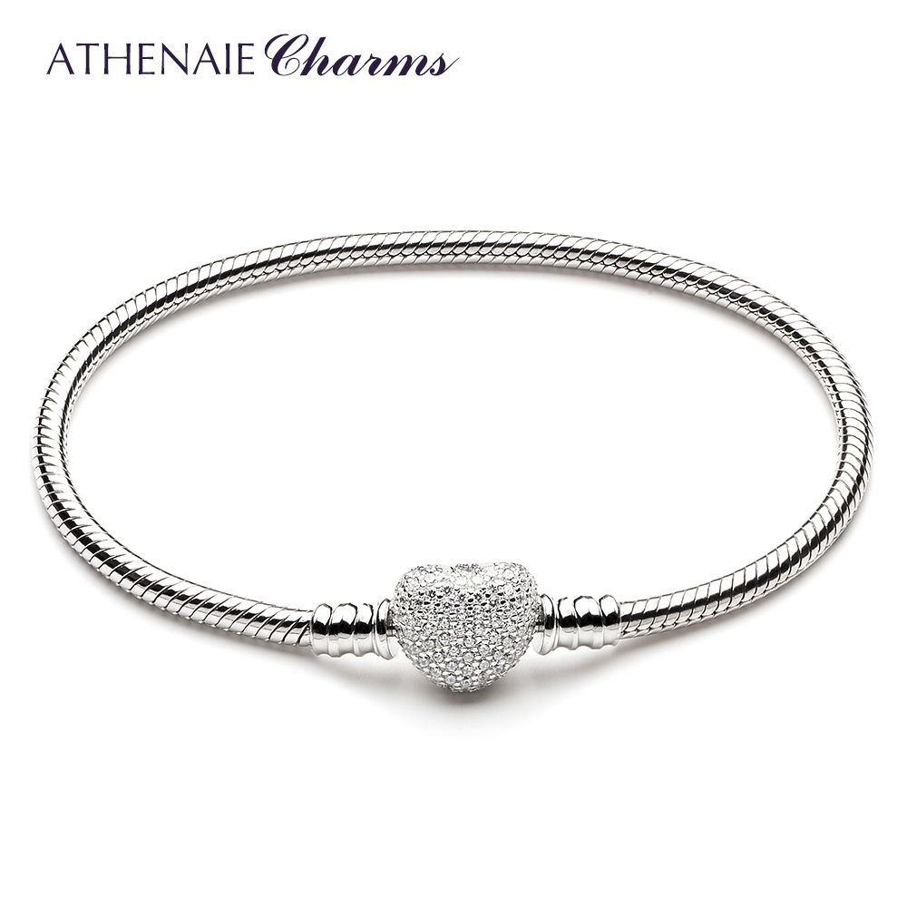 ATHENAIE 925 Sterling Silver Snake Chain With Pave Clear CZ Heart Clasp Bracelet Fit All European