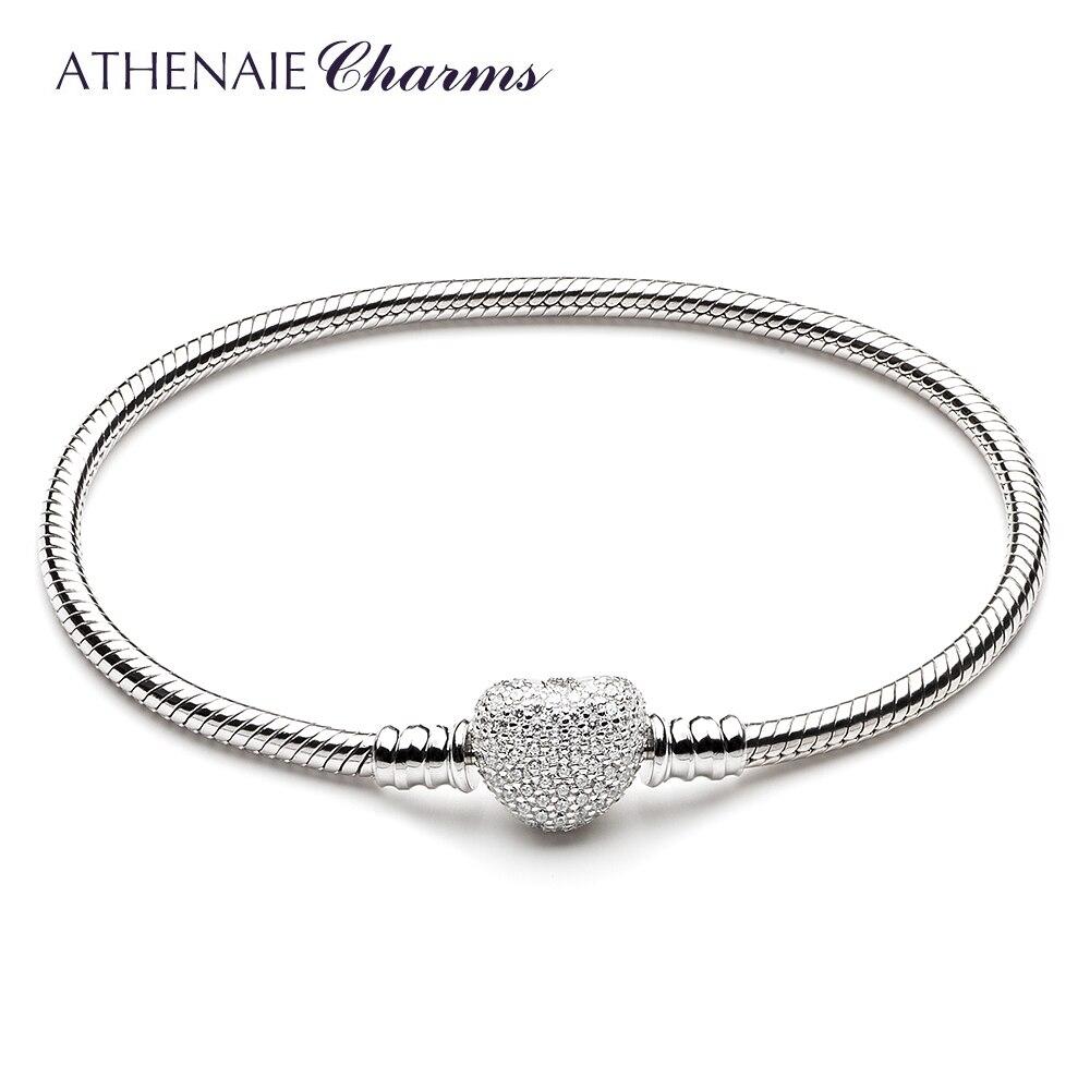 Athenaie 925 серебро змея цепи с проложить Ясно CZ Сердце застежка браслет подходит для всех Европейский Шарм Бусины