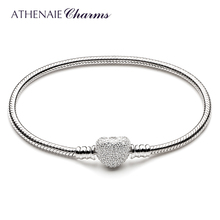 ATHENAIE 925 Sterling Silver Snake Chain With Pave Clear CZ Heart Clasp Bracelet Fit All European Charm Beads Valentine Jewelry