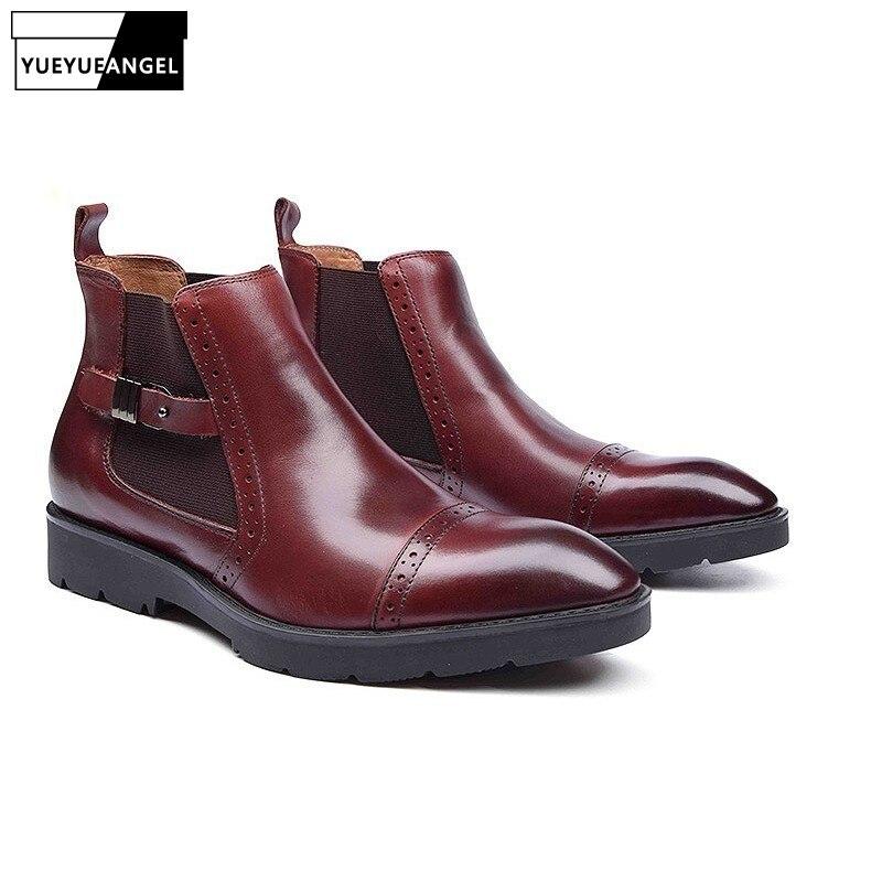 Italien Glissement Sur Les Hommes Cheville Bottes Casual Male Chaussures Hiver De Luxe Rétro Haute Qualité Solide Sapatos Homens D'affaires Plus La Taille 37-44