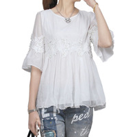 Korean Fashion 2017 Summer Women Cotton White Lace Floral Chiffon Blouse Female Half Sleeve Beads Loose
