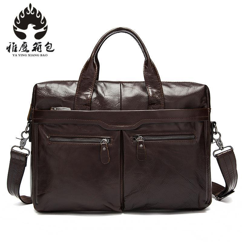Genuine Leather Vintage Men Bag Handbag Business Casual Men's Travel Laptop Bag Shoulder Bags Tote Briefcase купить в Москве 2019
