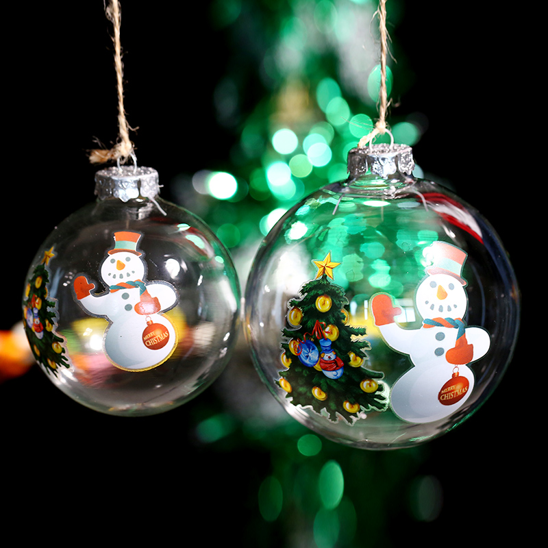 Us 22 8 Christmas Ornament Ball Xmas Tree Snowman Design Clear Glass Balls Xmas Tree Decoration Window Pendant New Year Party Event In Ball
