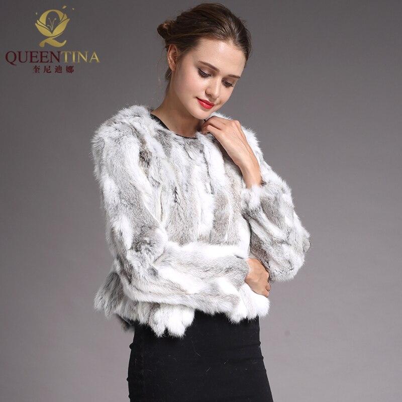 À Lapin Clair Nouvelles De Fourrure Réel Mode Véritable Gris cou Femmes Veste Manches Longues Manteau Naturel Mince 2018 O x0UgRwR