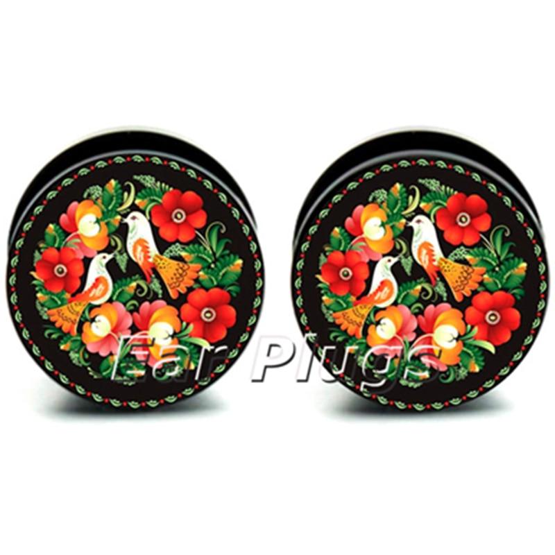 1 pair flower birds pattern ear plug gauges tunnel acrylic screw flesh tunnel body piercing jewelry PAP0105