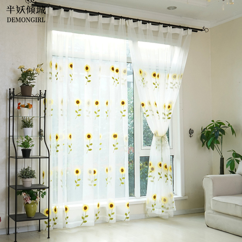Sheer yellow curtains - Demongirl Embroidery Yellow Flower Tulle Sheer Curtains For Living Room Bedroom Voile Fabric Kitchen Window Screening