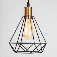 Industrial moderno Luz Pingente de Gaiola de Ferro Do Vintage Da Arte do Diamante Pirâmide lâmpadas Forjado Lâmpada Do Teto casa Adequado para E27|Luzes de pendentes| |  -