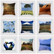 Fuwatacchi Beautiful Scenery Cushion Cover Ancient Architecture Rural Pillows For Car Home Room Decoration Pillowcase