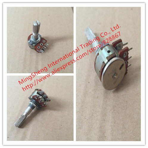 цена на Original new 100% import Fu and 16 type potentiometer with the midpoint of the balance of the dual axis 100KMN long 25MM SWITCH