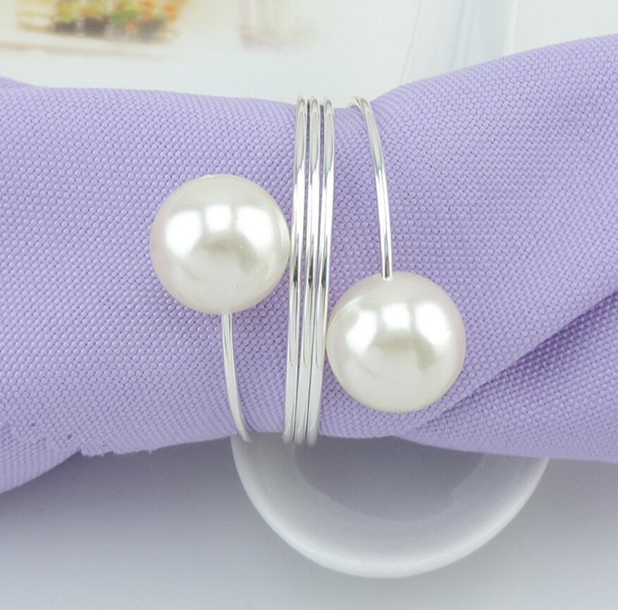 10 unids oro / plata / perlas de cobre servilleta anillo hebilla - Cocina, comedor y bar