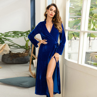 Maxi Dress 2019 Asymmetric Loose Women's Long Dress Cardigan Flannel Pullover Long Sleeve Open with High Split Blue Party Dress