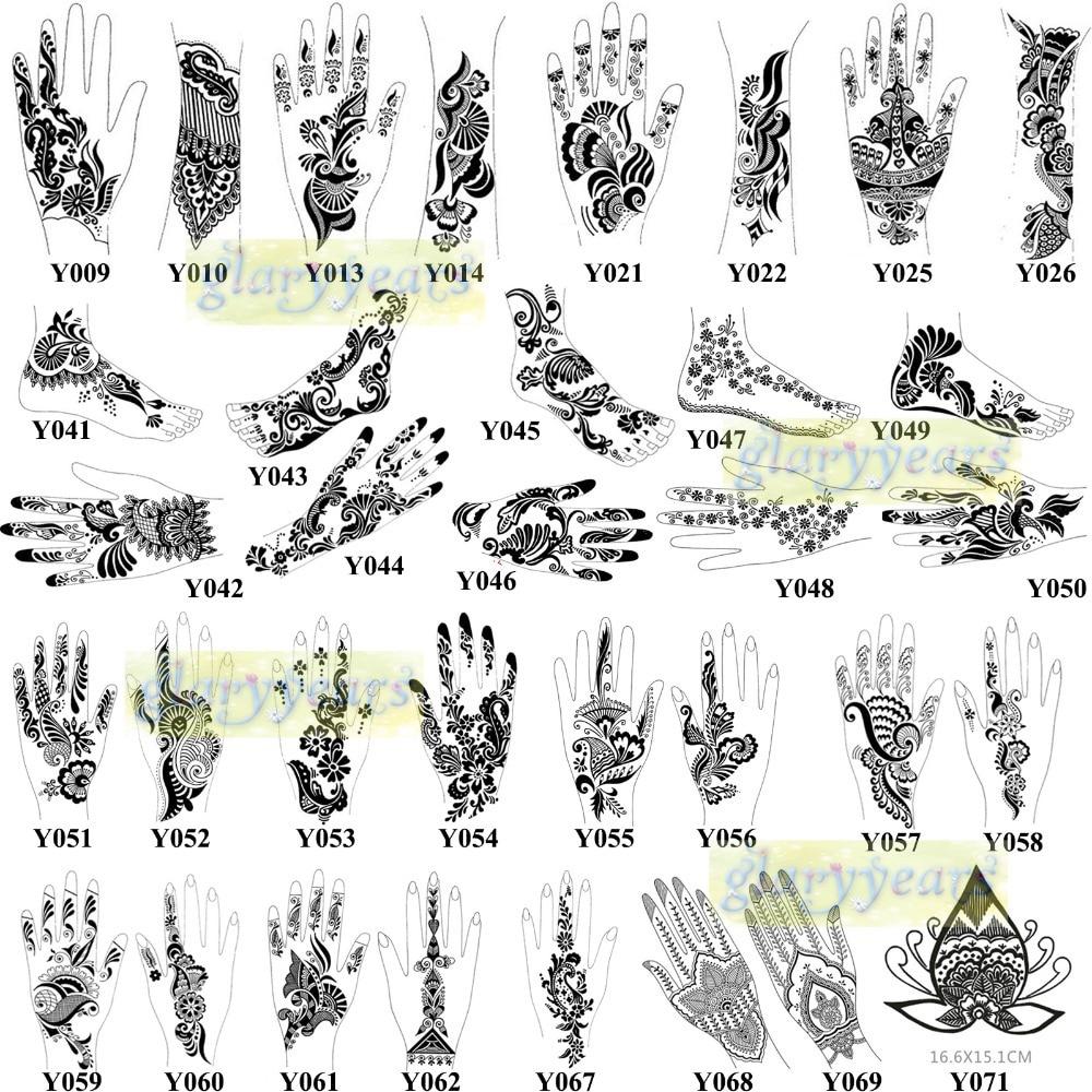 1pc Large Mehndi Henna Glitter Temporary Tattoo Airbrush Stencils