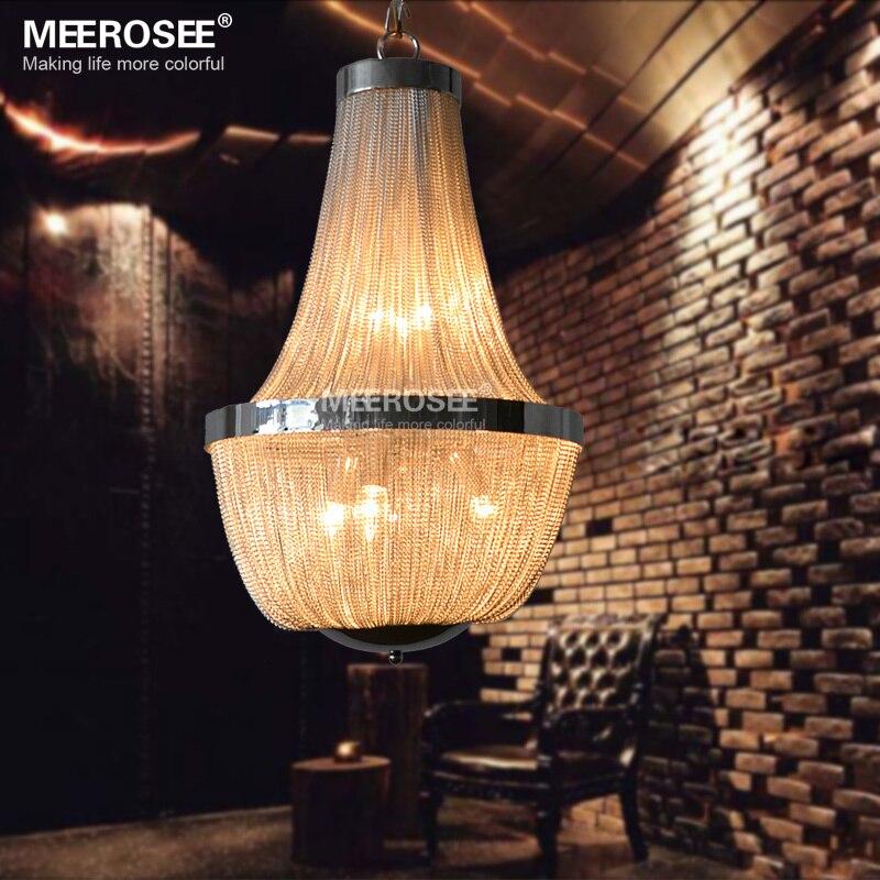 Modern Aluminum Chain Pendant Light Fixture Empire Vintage Hanging Suspension Lustre Chain Pendant Lamp Drop Light