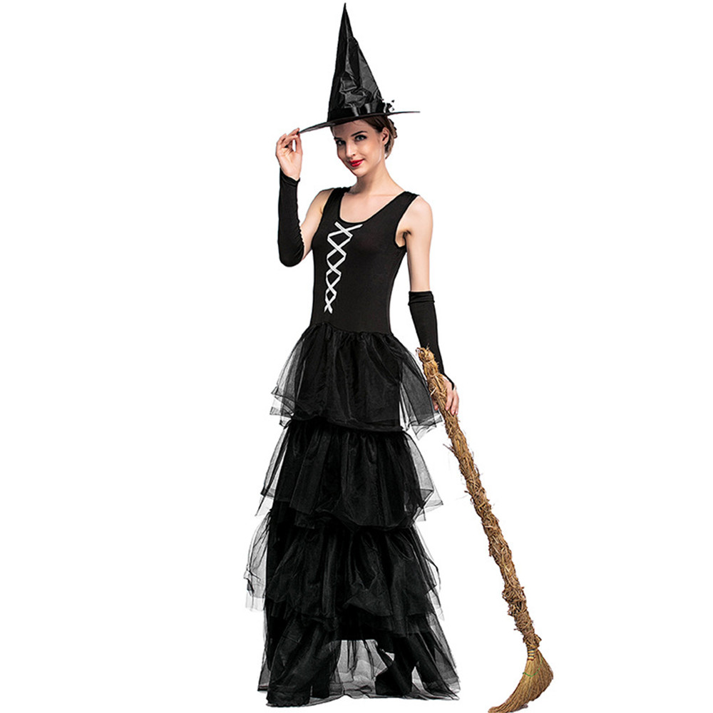 Black Witch Fancy Dress Up Party Dress Carnival Performance Clothing Halloween Costume Sorceress Costume Adult Cosplay