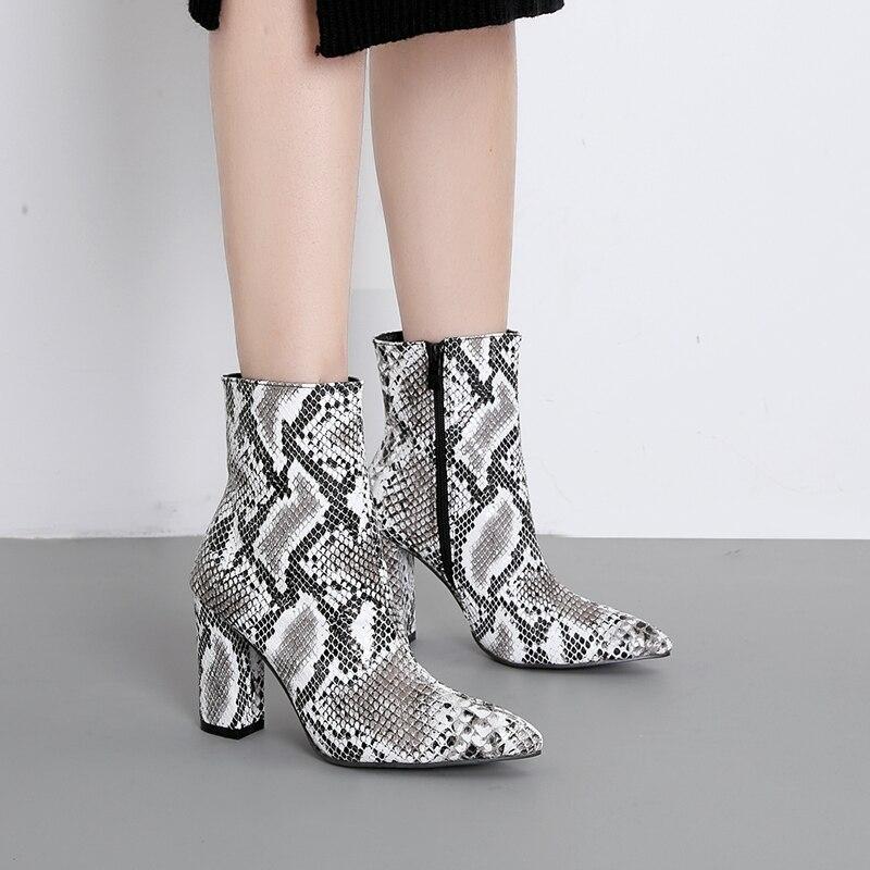 Snake Serpente Punta Stivali Moto Caviglia Skin A Boot Disegno Signore Tacchi  Di Donna Zip Stivaletti Toe Inverno Scarpe ... d53f4ea8f30