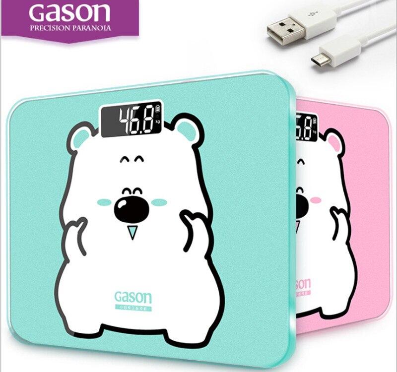 GASON A3s USB De Charge poids échelle Numérique de bande dessinée photos Salles de Bains Balance Électronique 180 kg 2 couleur dans Salle de bains Échelles de Maison & Jardin