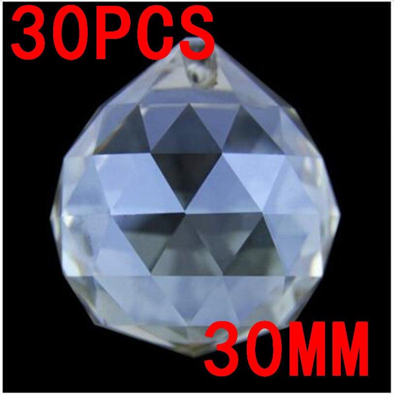 30mm 30pcs Rare Cognac Asian Quartz Feng Shui Ball Crystal Chandelier Balls Fashion Table Decor Good Luck Ball Free Shipping