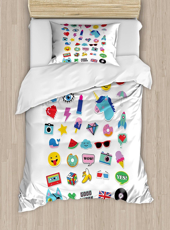 Emoji Duvet Cover Set Pop Culture Elements Good Vibes Ice Cream Rocket Donut Star Cartoon Style Drawing 4 Piece Bedding Set