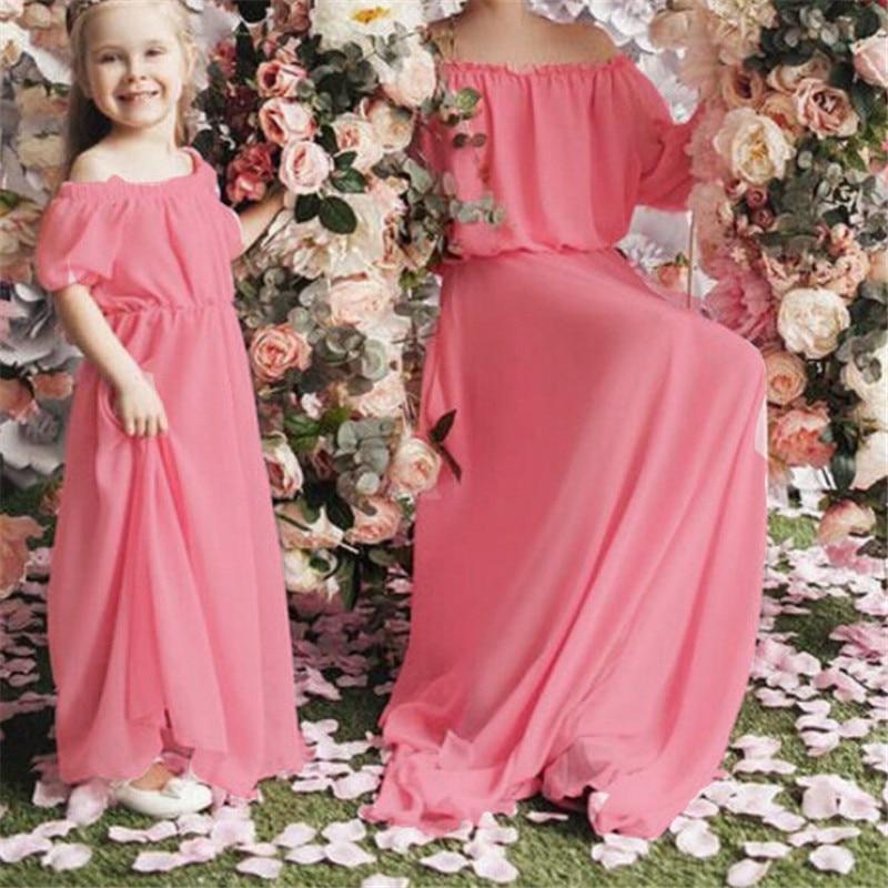 Brillant Mode Mutter Tochter Kleider Sommer Eltern-kind-kleid Frauen Baby Mädchen Reine Farbe Puff Sleeve Kleid Familie Passenden Kleidung Mit Einem LangjäHrigen Ruf