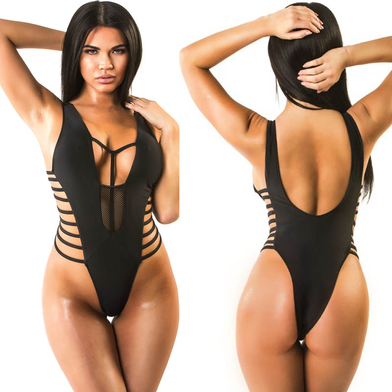 Thong Trikini Black One Piece Swimsuit High Cut Swimwear -7023