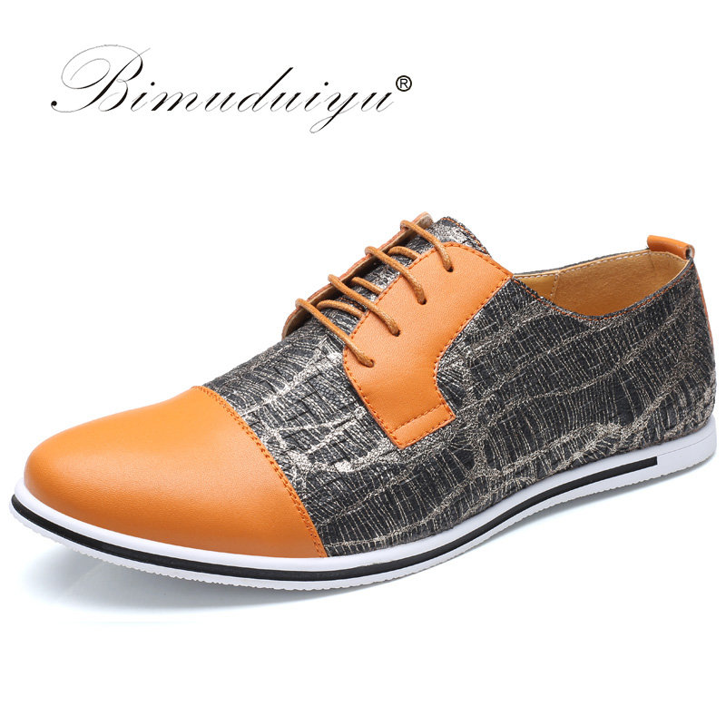 BIMUDUIYU Lace-Up Round Toe Casual Shoes Mixed Colours Breathable Men Flats Luxury Leather Shoes Comfortable Big Size 6.5-13