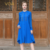 VOA 2017 Summer Royal Blue Embroidery Silk Shirt Dress Chinese Style Vintage Elegant Stand Collar Long