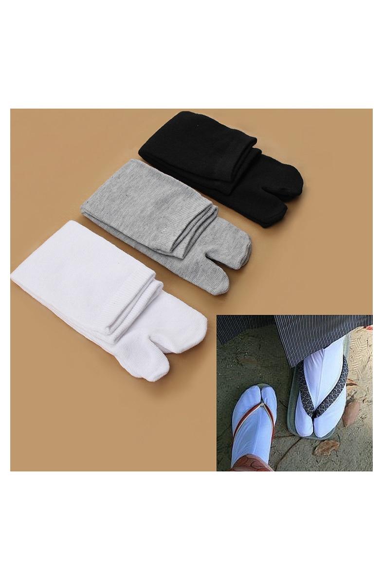 Sport sock 3 Pairs Japanese Flip Flop Sandal Split Toe Tabi Ninja Geta Zori Socks White+Black+Grey