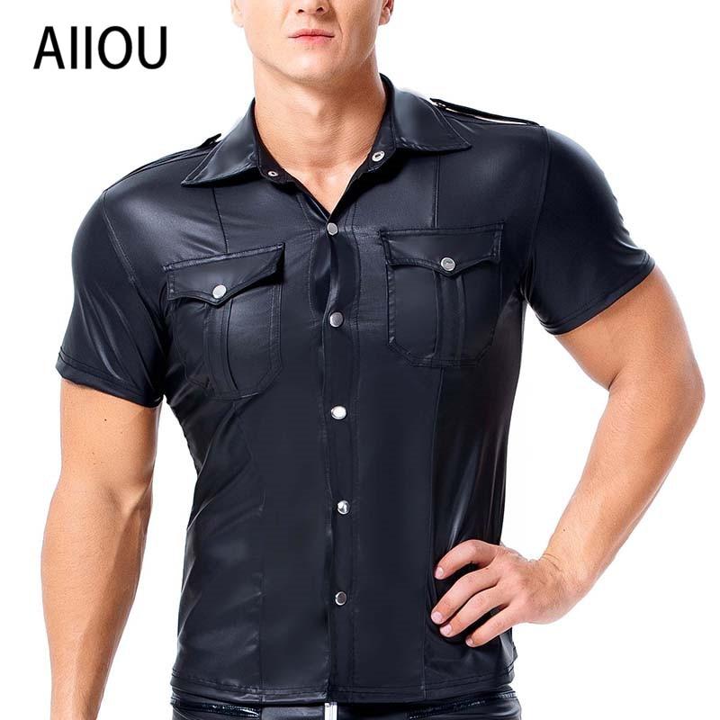 AIIOU Me Undershirt Gay Faux Leather Shirts Short Sleeve Cool Men Pocket Black Sissy Dance Club Wear Costume Shirts Undershirts