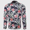 Hawaii Men Flower Shirt Tropical Palm Print Shirt Casual Floral Pattern Mandarin Collar Island Male Clothing