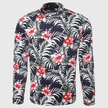 Hawaii Men Flower Shirt Tropical Palm Print Shirt Casual Floral Pattern Mandarin Collar Island Male Clothing casual drawstring mandarin collar t shirt