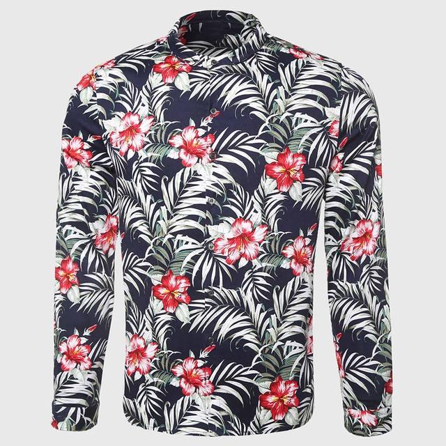 7f11d60cd53 Hawaii Men Flower Shirt Tropical Palm Print Shirt Casual Floral Pattern  Mandarin Collar Island Male Clothing