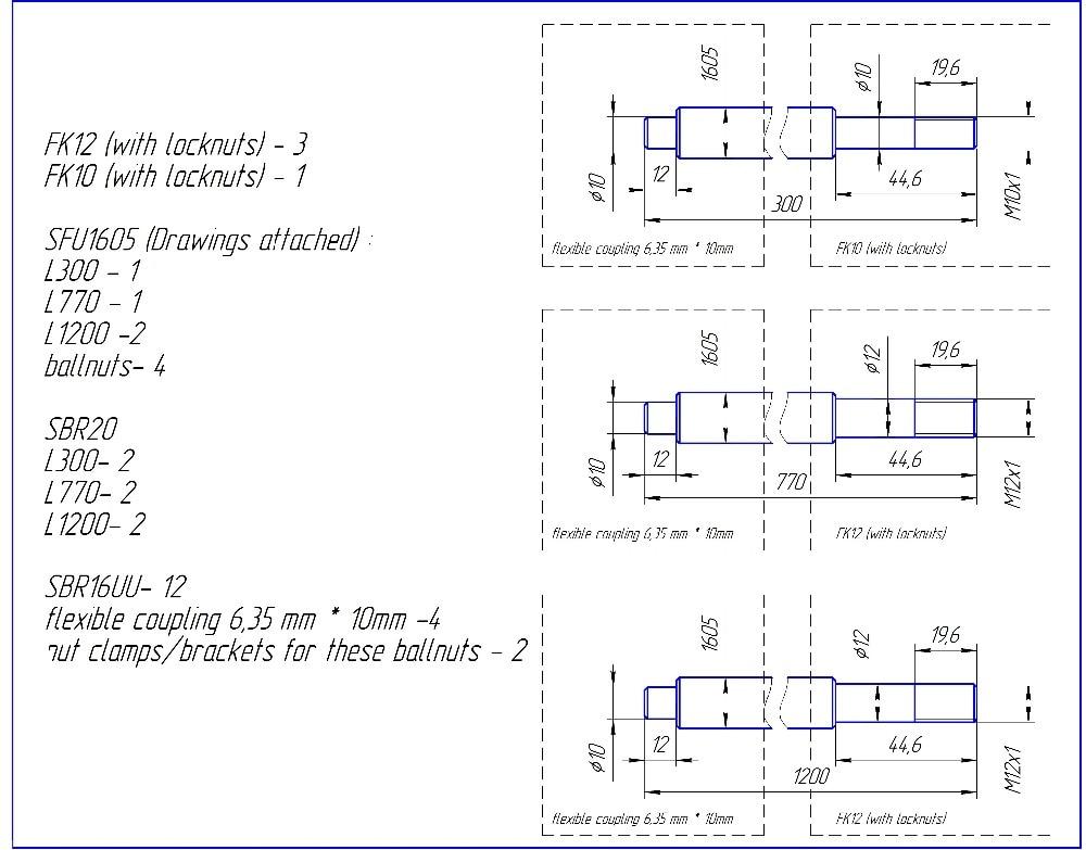 6set SBR20-300/770/1200mm linear rail+4set ballscrew RM1605+3xfk12 +1xfk10+4pcs nut bracket+4 coupler CNC set 6set sbr20linear rail 4set ballscrew rm1605 1 5kw spindle motor nema23 stepper motor 425oz aluminum profile 60x60