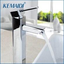 Kemaidi столешницы кран хромированная отделка горячей и холодной смеситель роскошный одно отверстие коснитесь Высокое качество для ванной умывальник, краны