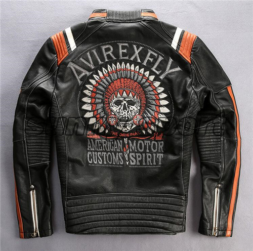 Jacket Male Slim Winter Short Embroidery Head-Layer Cowhide-Collar Motorcycle Old Vintage