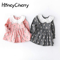 New Girl S Long Sleeved Dress Cotton Small Rabbit Pattern Doll Dress Baby Girl Clothes Girls