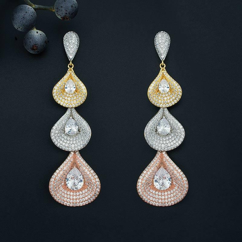 ModemAngel Luxury Three Water Super AAA Cubic Zirconia Copper Drop Earrings Women Engagement Bridal Fashion Earring