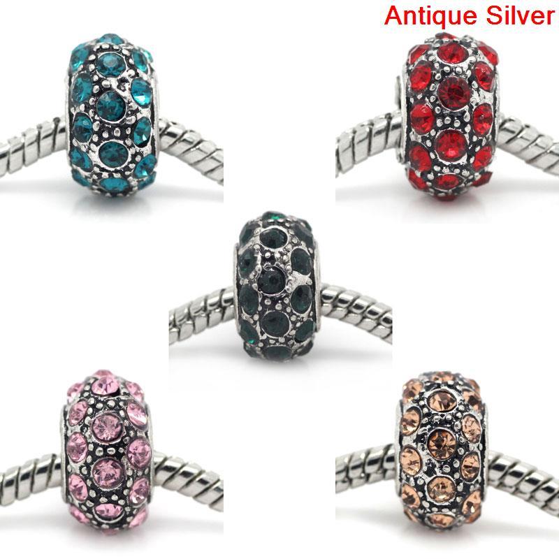 DoreenBeads European Charm Beads antique silver W/Rhinestone Mixed 13x8mm,Hole:Approx:5mm,5PCs 2015 new