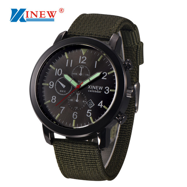 ceabc38d3d3 XINEW Creative Watch Mens Military Quartz Army Watch Black Dial Date Luxury  Sport Wrist Quartz Watch
