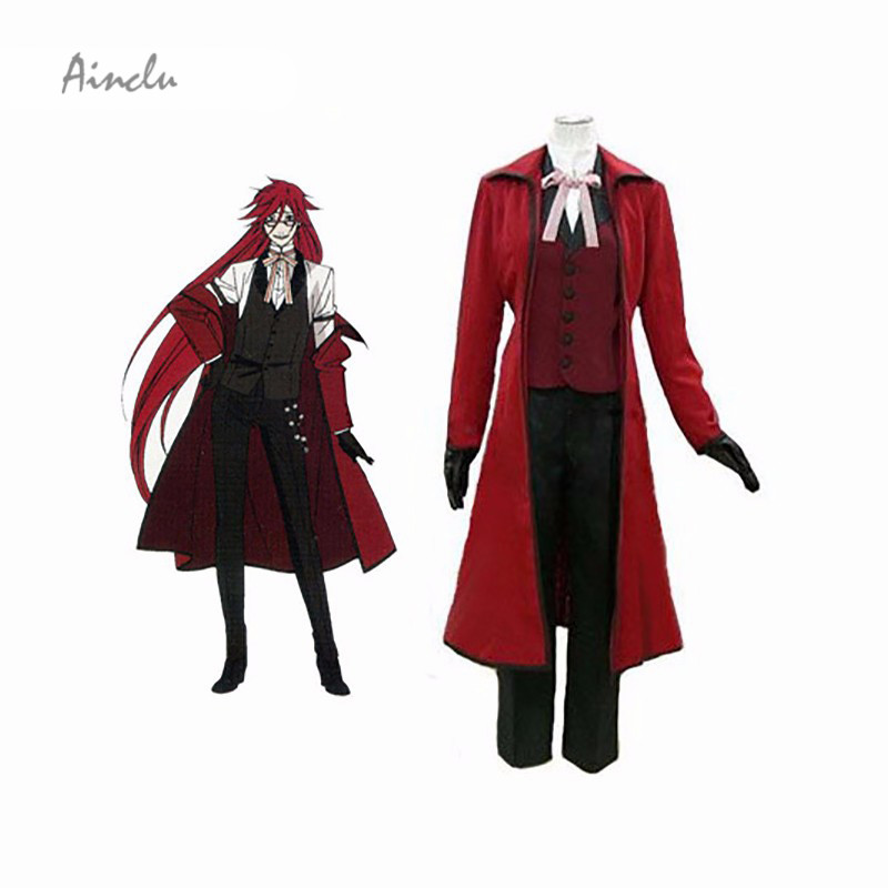 Ainclu Free Shipping Black Butler Kuroshitsuji Death Scythe Grell Sutcliff Adult Cosplay Costume black butler kuroshitsuji grell sutcliff cosplay wigs long red synthetic hair women girl anime party wig red glasses chain