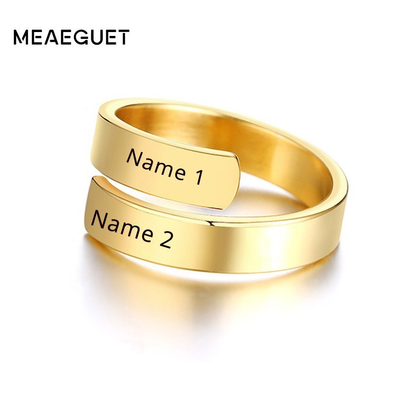 Personalized Women's Dual Two Name Rings Gold Color Custom Double Layer Wrap Hug Best Friend Mom Adjustable Size image