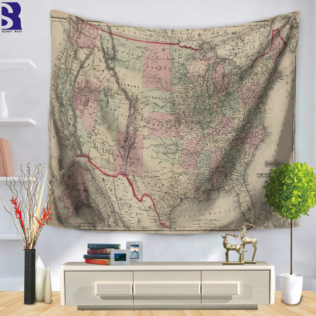 Sunnyrain 1 piece retro world map wall hanging for home polyester sunnyrain 1 piece retro world map wall hanging for home polyester tapestry indian 130cmx150cm boho gumiabroncs Image collections