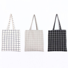Japanese and Korean style square plaid canvas bag double solid color green zipper student shoulder