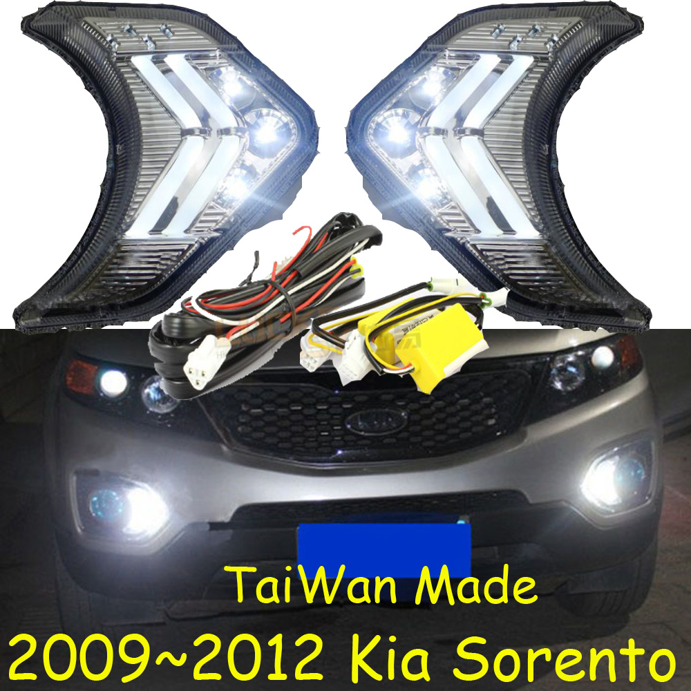 Car-styling,KlA Sorento daytime light,2009~2012,chrome,LED,Free ship!2pcs,KlA Sorento fog light,car-covers car styling sorento taillight 2009 2012 free ship 4pcs sorento fog light chrome sorento tail lamp car detector sorento