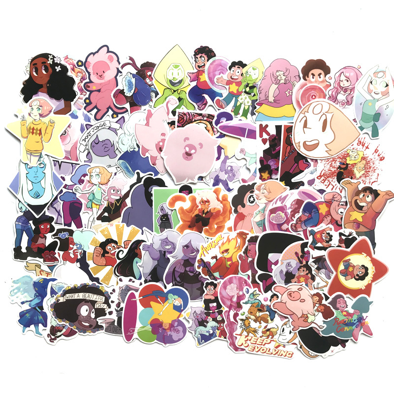 TD ZW 63Pcs/lot Cartoon Steven Universe Stickers For Snowboard Laptop Luggage Car Fridge DIY Styling Vinyl Home Decor Pegatina